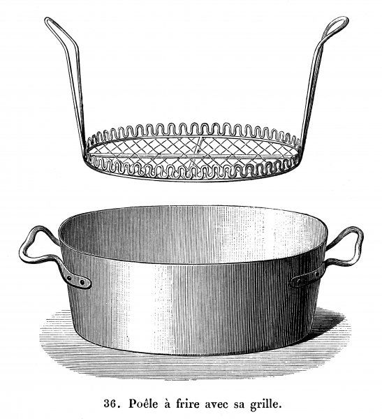 An oval shaped deep-fat fryer with removable basket for frying fish and chips, or perhaps I should say pomme frites as it is French