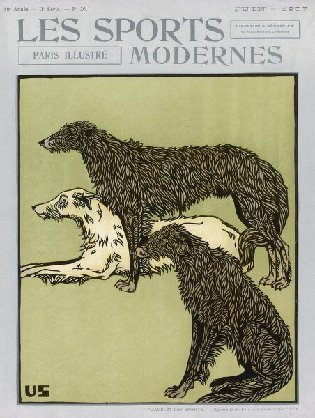 Three deerhounds, one sitting, one standing and one lying, grace the front cover of the US edition of 'Les Sports Modernes&#39