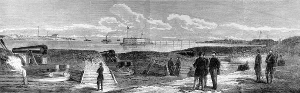 Panorama showing the cannon and fortifications built by the Confederates at Charleston, in anticipation of a major engagement with the Federal Army
