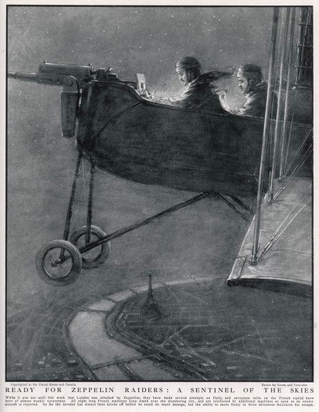 A Voisin defending Paris from the air in his aircraft
