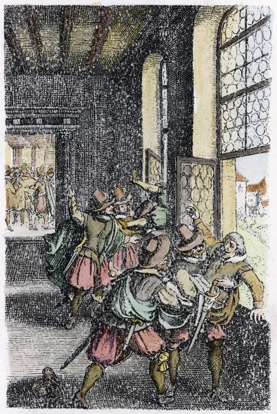 THE DEFENESTRATION OF PRAGUE Bohemian protestants, angry when Catholics destroy two of their churches, throw royal officials from the palace windows
