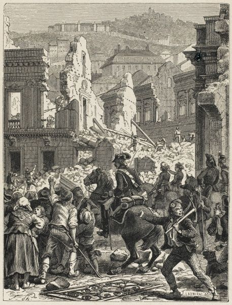 When the revolutionary army capture Lyon, which has defied the Paris government, Collot d'Herbois carries out a massive destruction of property in the city