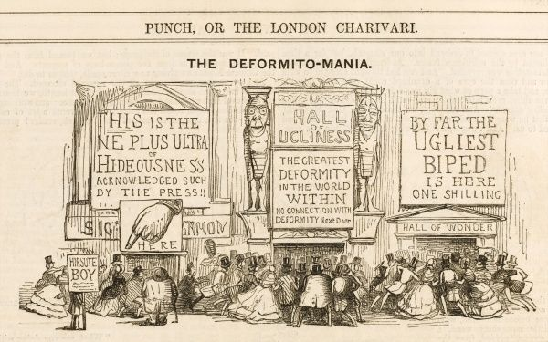 "Satirical cartoon on what Punch calls the ""taste for the Monstrous"" by the general public, encouraged particularly by the exhibits at the Egyptian Hall in Piccadilly, London whose walls are placarded with bills announcing the display of deformities"