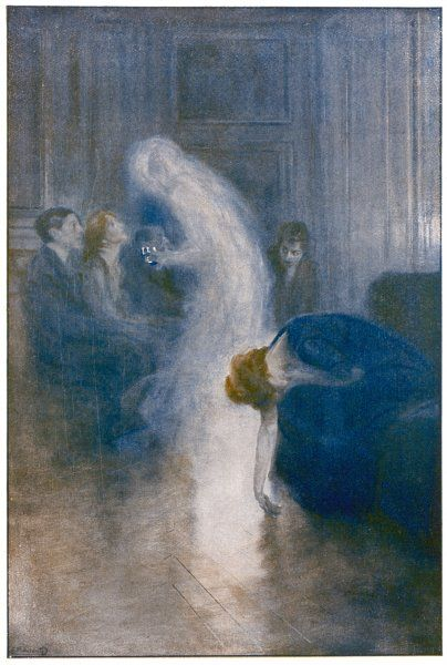 At a seance organised by Delanne, a misty figure detaches itself from the unnamed medium and approaches the sitters