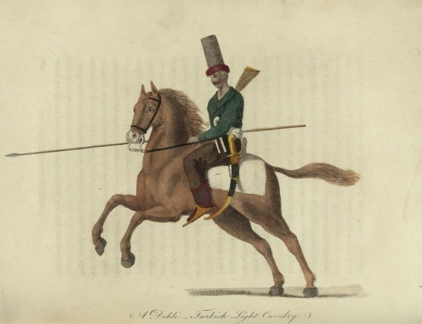 A Dehli - Turkish light cavalry. A cavalry trooper wearing a tall hat with a lance in his hand, a musket slung over his back and a curved sword at his side. He is mounted on a brown horse