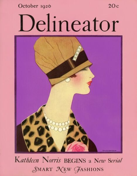 Delineator cover October 1926 by Helen Dryden. Front cover of the Delineator magazine featuring a smart and stylish 1920s lady. Date: 1926