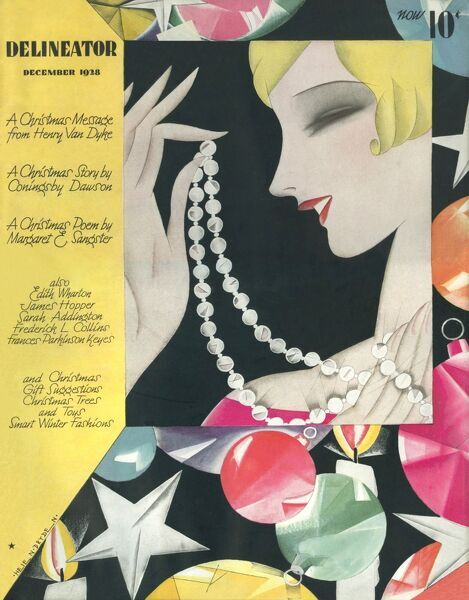Sparkling front cover of the Delineator magazine featuring a blonde 1920s woman admiring a string of pearls against a background of colourful baubles