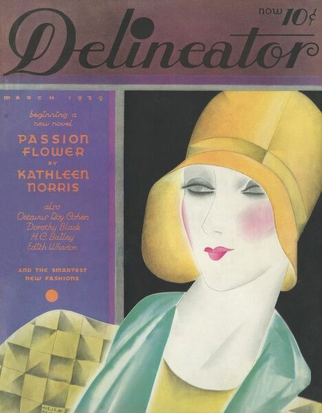 Front cover illustration featuring a fashionable 1920s woman wearing a yellow cloche hat and with rouged cheeks and perfectly applied lipstick