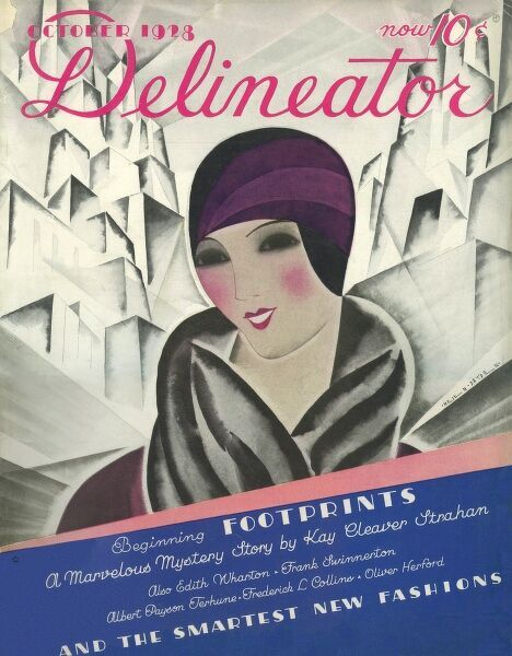 Front cover illustration featuring a fashionable woman dressed in a helmet style hat and coat with sumptuous fur collar against a backdrop of skyscrapers or mountains. Hard to tell which!