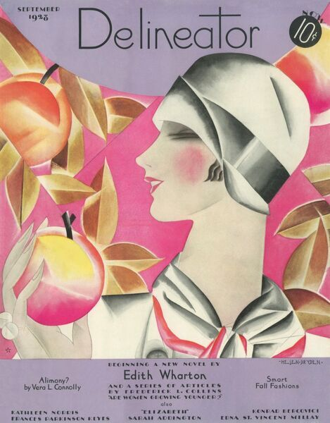 Front cover illustration featuring a woman in a typical 1920s cloche hat eating an apple from an apple tree. It is September after all