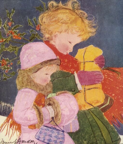 Two children dressed up warmly against the cold walk through the snow laden with presents and parcels