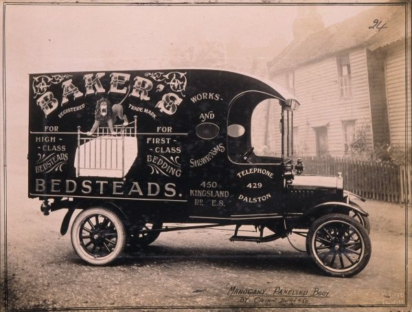 Beautifully decorated Delivery Van for Baker's Bedsteads of 450 Kingsland Road, Dalston, London