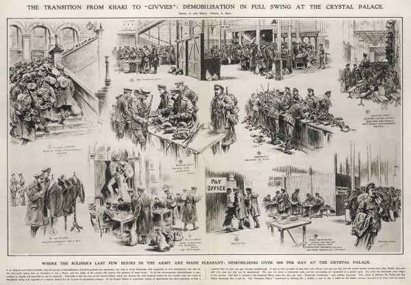 Scenes at Crystal Palace at the end of the WWI showing soldiers demobilising at a rate of over 4000 a day