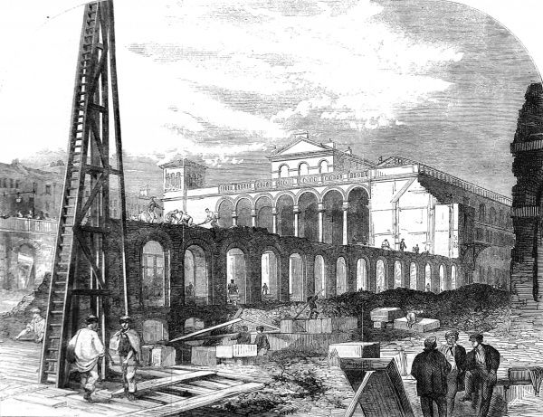 Engraving showing the demolition of Hungerford Market to make room for Charing Cross Railway Station, London, 1862