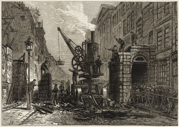 Engraving showing the demolition of Temple Bar, City of London, on 12 January 1878