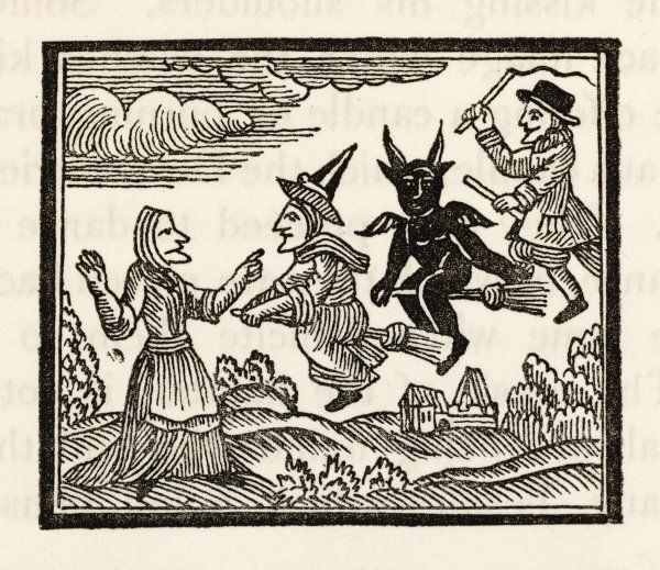 A countrywoman is amazed to see two witches - one male, one female - flying past escorted by the Devil who, it seems, also needs a broomstick