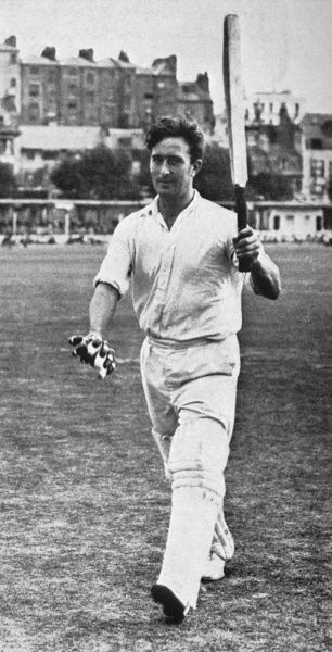 Cricketer Denis Compton acknowledges the crowd at the Central Recreation Ground, Hastings