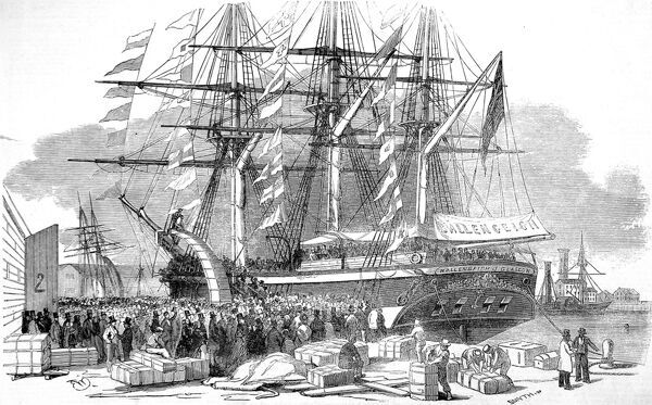 Engraving showing the departure of the emigrant ship, 'Ballengeich', from Southampton bound for Australia, 1852