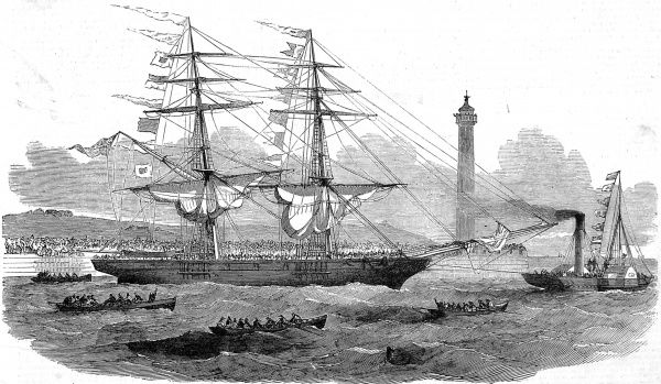 Engraving showing the two-masted emigrant ship, 'Lizzie Webber', leaving Sunderland for Australia, 1852. This was the first emigrant ship to make that passage. The image shows small boats and a steam tug sailing in the foreground