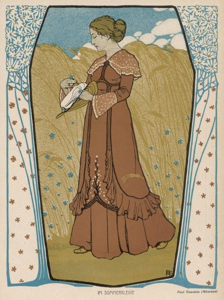 A depiction of Summer showing a woman wearing a reform style tunic dress with uncorseted waistline. She picks cornflowers from a cornfield to decorate her straw hat
