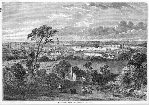 Distant view of the Thames at Deptford and Greenwich : if our Library had existed at this time, it would be out of sight to the right of this view