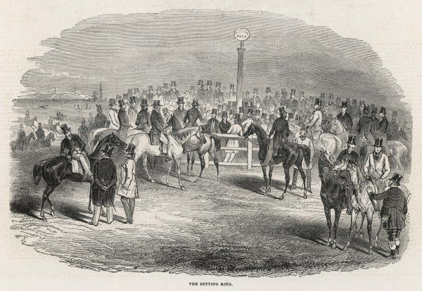Betting on the Derby - gentlemen ride up to the ring and place their bets man to man - all very different from the arrangements in later years !