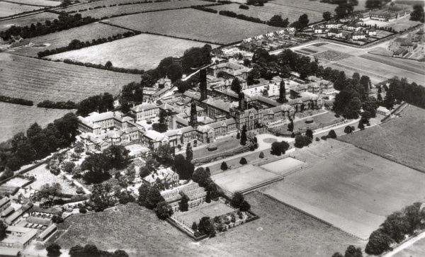 An aerial view of the Derby County Mental Hospital at Mickleover near Derby. It began life in 1851 as the Derbyshire County Lunatic Asylum, designed by Henry Duesbury. The site later became known as the Pastures Hospital