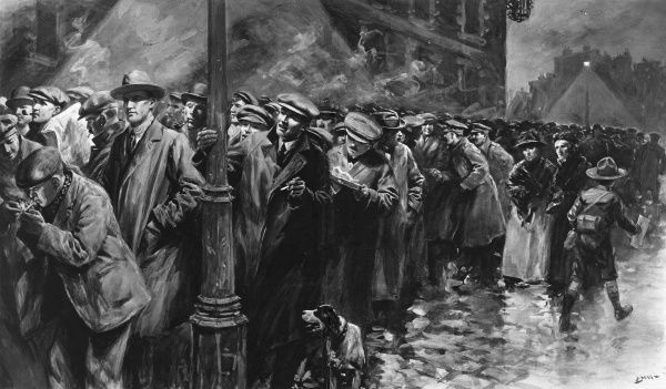 Illustration by S. Begg showing a long queue of men lining up to enlist