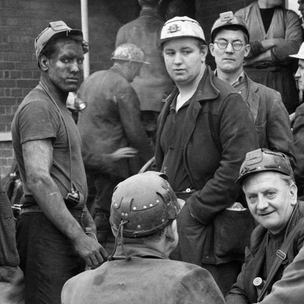 Glapwell Colliery, Derbyshire miners at the pithead (detail from 10430475) Date: circa 1966