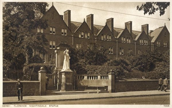 View of the Derbyshire Royal Infirmary in London Road, Derby, with a statue of Florence Nightingale