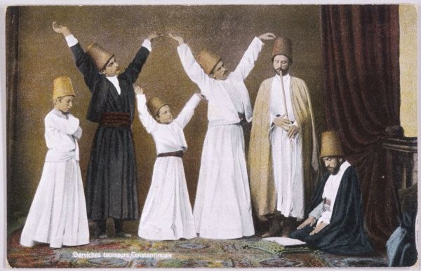 Dervish dancers of Constantinople (Istanbul) ; men and boys rehearse together to the sound of a pipe, while their master supervises them