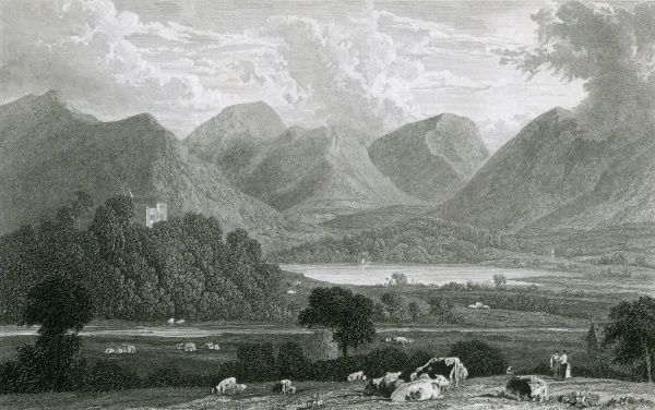 Derwentwater, Cumbria : Greta Hall is the prominent building. Date: 1829