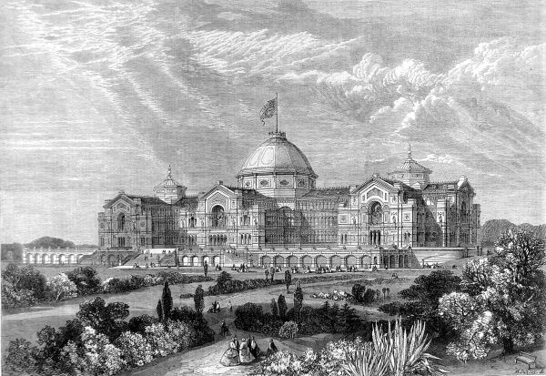 Engraving showing the exterior of a proposed design for the Alexandra Palace in London, produced in 1864