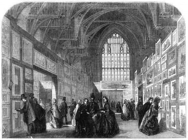Exhibition of the designs for the new government offices, in Westminster Hall