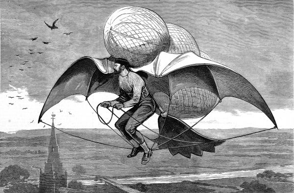Engraving showing the design for a flying machine, suggested in 1877. This design would appear to incorporate several spheres of gas or hot air, as well as features of bird-like construction