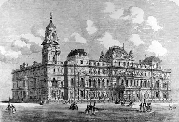Engraving showing the design for the British Government's Foreign Office, created by Coe and Hofland Architects, London, 1857