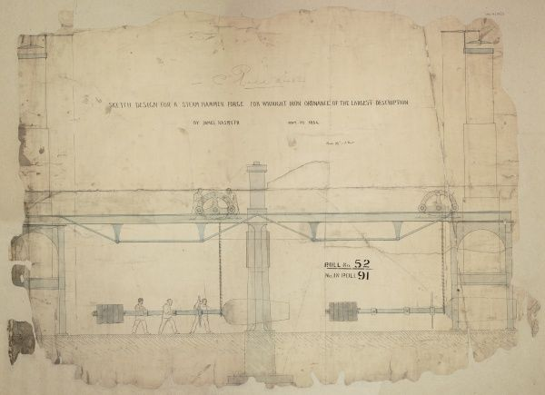 Design for a steam hammer forge for wrought iron ordnance of the largest description, side elevation Date