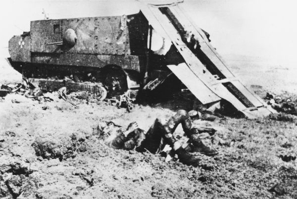 Destroyed French tank during World War I