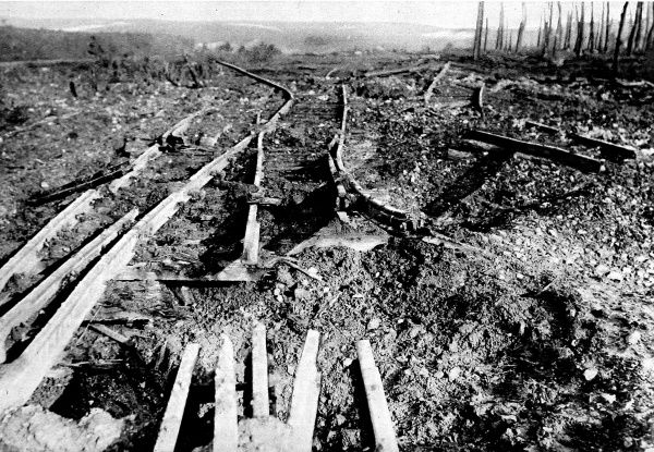 Photograph showing a section of German railway destroyed by British high explosive artillery shells during fighting on the Western Front at Ancre, 1916