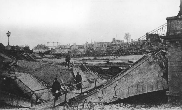 Destruction of the Soissons Bridge on the French Front in France during World War I