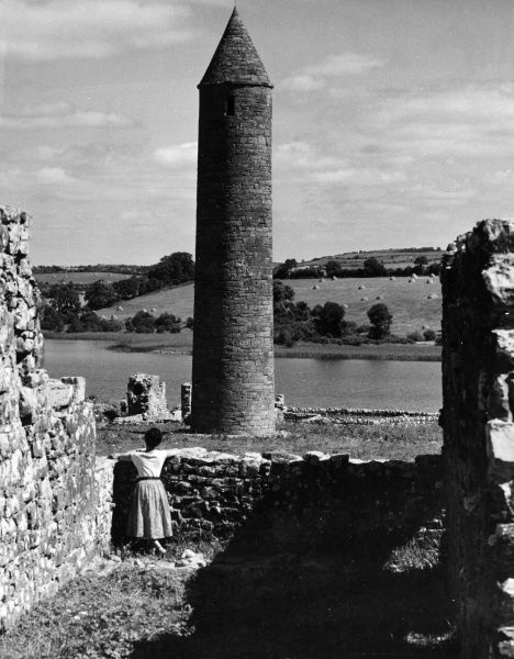 The Round Tower on the island of Devenish, off lower Loch Erne, Co. Fermanagh, Northern Ireland. Date: 12th century