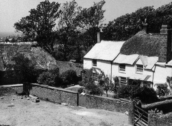 A lovely partly thatched farmhouse at Galmpton, Devon, England. Date: 1950s