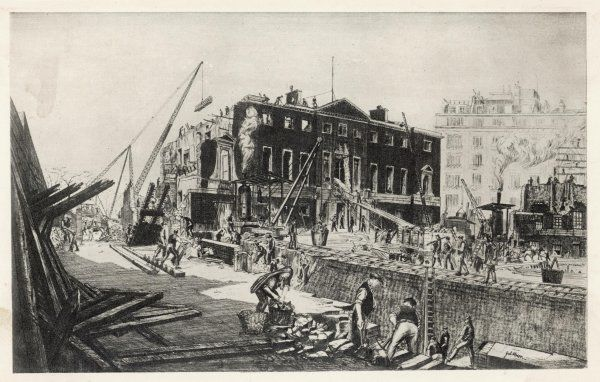The demolition of William Kent's house, built in the 1730s for the 3rd duke of Devonshire : replacing it is a big block including the Mayfair Hotel