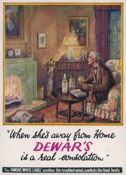 An elderly gentleman spends the evening with a good book, a cigar and glass of Dewar's White Label whisky but casts his gaze mournfully to a painted portrait of his wife hanging above the fireplace so is obviously missing his spouse