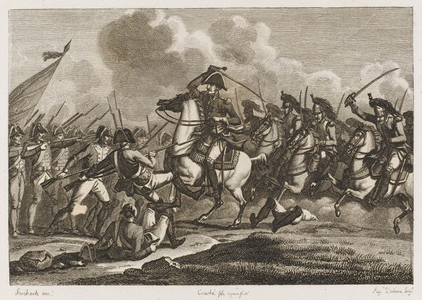 French General N D'Haupoult leads a brave cavalry charge against the Prussians, but the battle will be an indecisive one