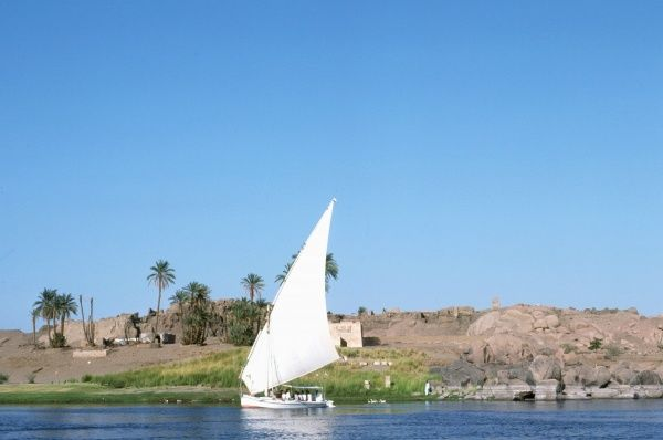 Dhow or felucca on the River Nile, Egypt. Photograph by Lionel Coates