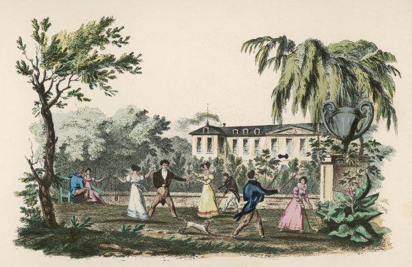 Games of diabolo taking place in the garden of a grand country house