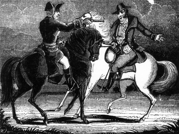 Dick Turpin holds up fellow highwayman, Tom King Date: 1735