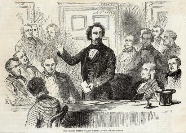 CHARLES DICKENS Dickens speaking at the Dulwich College Charity Meeting at the Adelphi Theatre