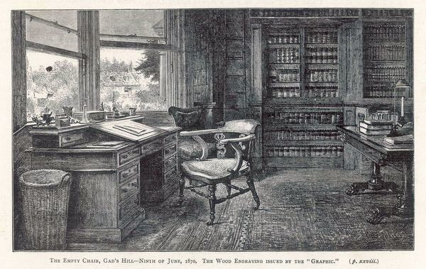 HIS HOME AT GADSHILL His desk and empty chair after his death, dated 9 June 1870